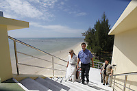 Minister of the Environment and International Development, Erik Solheim, during a visit to Khao Lak, north of Phuket. The area was severley hit by the Tsunami that struck Asia 26/12/2004.The area has since been rebuilt, and tourists have returned. A tower has been built on the beach as a tsunami shelter. .©Fredrik Naumann/Felix Features.