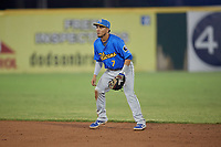 Myrtle Beach Pelicans second baseman Carlos Sepulveda (7) during a Carolina League game against the Potomac Nationals on August 14, 2019 at Northwest Federal Field at Pfitzner Stadium in Woodbridge, Virginia.  Potomac defeated Myrtle Beach 7-0.  (Mike Janes/Four Seam Images)