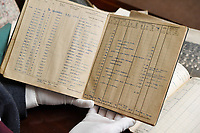 BNPS.co.uk (01202) 558833<br /> Pic:  ZacharyCulpin/BNPS<br /> <br /> The fascinating logbooks of a hero Spitfire pilot who escorted Winston Churchill over the Rhine have been discovered during a house clearance.<br /> <br /> Flight Officer Joseph Staples, of 74 Squadron, 145 Wing, racked up hundreds of missions during World War Two.<br /> <br /> In early 1945, he flew alongside Allied bombers on German raids to protect them from the constant Luftwaffe threat.<br /> <br /> His dangerous sorties were all recorded in his meticulously-kept logbooks alongside very matter-of-fact descriptions of them.