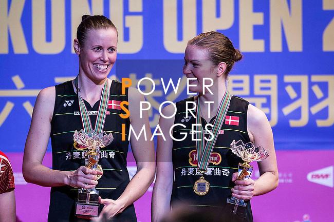 Kamilla Rytter Juhl and Christinna Pedersen of Denmark congratulate after defeating Huang Dongping and Li Yinhui of China during their Women's Doubles Final of YONEX-SUNRISE Hong Kong Open Badminton Championships 2016 at the Hong Kong Coliseum on 27 November 2016 in Hong Kong, China. Photo by Marcio Rodrigo Machado / Power Sport Images
