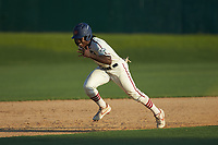 Kier Meredith (3) (Clemson) of the High Point-Thomasville HiToms takes off for third base during the game against the Martinsville Mustangs at Finch Field on July 26, 2020 in Thomasville, NC.  The HiToms defeated the Mustangs 8-5. (Brian Westerholt/Four Seam Images)