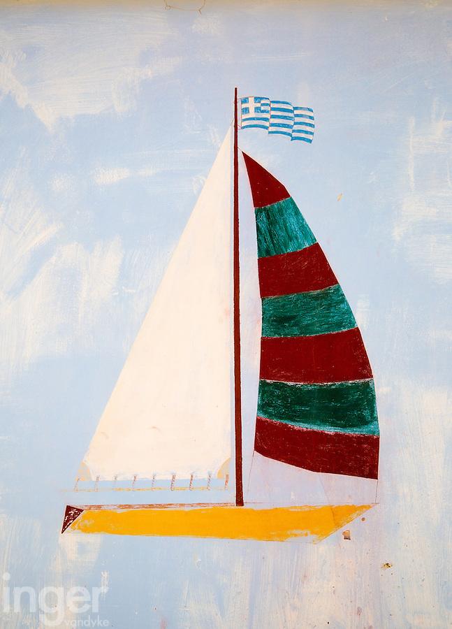 Sailing boat graffiti on Kastellorizo, Greece