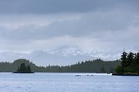 Sea kayaking in Dangerous Passage, Prince William Sound, Alaska