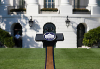 White House Podium.  Michelle Obama hosted a Lets Move! soccer clinic held on the South Lawn of the White House assisted by members of the USWNT.  Let's Move! was started by Mrs. Obama as a way to promote a healthier lifestyle in children across the country.