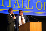St Johnstone FC Hall of Fame Dinner, Perth Concert Hall….03.04.16<br />Host Gordon Bannerman talks with manager Tommy Wright<br />Picture by Graeme Hart.<br />Copyright Perthshire Picture Agency<br />Tel: 01738 623350  Mobile: 07990 594431