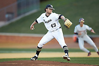 Wake Forest Demon Deacons starting pitcher Griffin Roberts (43) in action against the Florida State Seminoles at David F. Couch Ballpark on March 9, 2018 in  Winston-Salem, North Carolina.  The Seminoles defeated the Demon Deacons 7-3.  (Brian Westerholt/Four Seam Images)