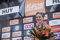 on podium after finishing 3th place: Megan Guarnier (IUSA/Boels dolmans)<br /> 21st La Flèche Wallonne Femmes <br /> 1 day race: Huy - Huy (118,5KM)