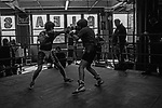 Sparring session at Gleason's Gym in Brooklyn, New York.<br />Photograph by Thierry Gourjon-Bieltvedt. 1995-2005