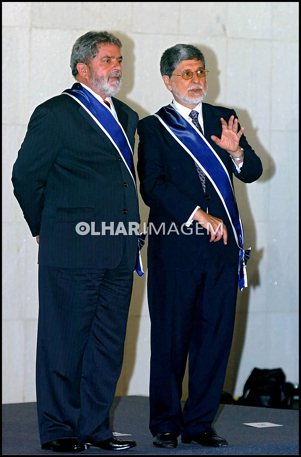 Presidente Lula e ministro Celso Amorim, cerimonia de formatura de novos diplomatas, no Itamaraty. Brasília. 20.04.2004.  Foto de Sergio Amaral