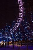 London, England. Detail of the London Eye at night.