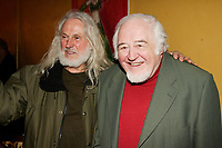 Sculptor Armand Vaillancourt (L) and Raymond Levesque (R) at  the Launch of  Marie Marine album. April 25 2006 at Divan Orange in Montreal.<br /> <br /> Marie Marine is the daughter of French Canadian singer Raymond Levesque.<br /> <br /> PHOTO : Agence Quebec Presse