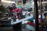 A barber shop in Sana'a during Ramadan.