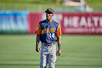 Jorge Mateo (14) of the Las Vegas Aviators before the game against the Salt Lake Bees at Smith's Ballpark on July 20, 2019 in Salt Lake City, Utah. The Aviators defeated the Bees 8-5. (Stephen Smith/Four Seam Images)