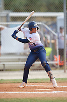 Ildefonso Ruiz (23) during the WWBA World Championship at the Roger Dean Complex on October 13, 2019 in Jupiter, Florida.  Ildefonso Ruiz attends Mater Dei Catholic High School in San Ysidro, CA and is committed to San Diego State.  (Mike Janes/Four Seam Images)