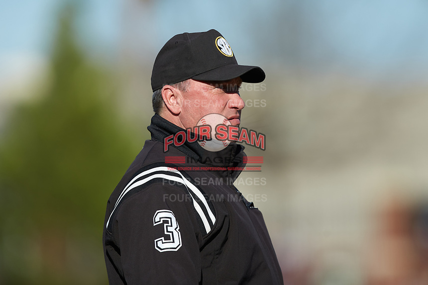 Third base umpire Barry Chambers works the NCAA baseball game between the Holy Cross Crusaders and the South Carolina Gamecocks at Founders Park on February 15, 2020 in Columbia, South Carolina. The Gamecocks defeated the Crusaders 9-4.  (Brian Westerholt/Four Seam Images)