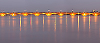 The old Pont de Pierre Bridge. Bordeaux city, Aquitaine, Gironde, France