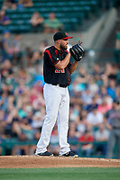 Rochester Red Wings relief pitcher D.J. Baxendale (24) looks in for the sign during a game against the Lehigh Valley IronPigs on September 1, 2018 at Frontier Field in Rochester, New York.  Lehigh Valley defeated Rochester 2-1.  (Mike Janes/Four Seam Images)