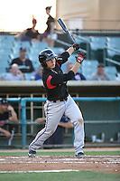 Luis Urias (3) of the Lake Elsinore Storm bats against the Lancaster JetHawks at The Hanger on August 2, 2016 in Lancaster, California. Lake Elsinore defeated Lancaster, 10-9. (Larry Goren/Four Seam Images)