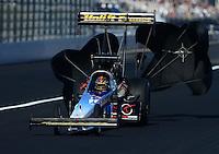 Nov. 11, 2012; Pomona, CA, USA: NHRA top fuel dragster driver Cory McClenathan during the Auto Club Finals at at Auto Club Raceway at Pomona. Mandatory Credit: Mark J. Rebilas-