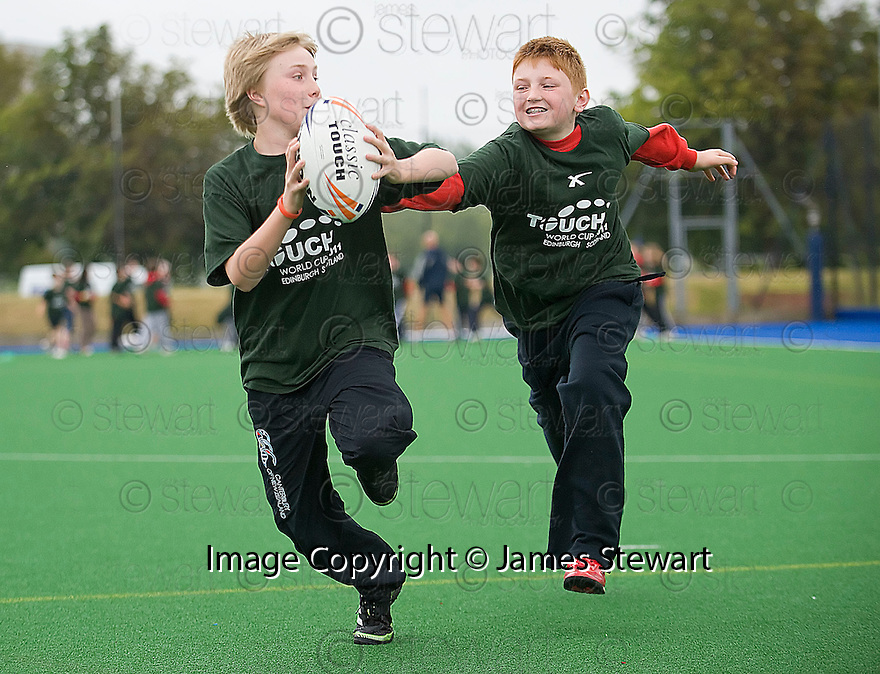 PUPILS FROM CORSTORPHINE PRIMARY TAKE PART IN THE TOUCH WORLD CUP YOUTH FESTIVAL AT PEFFERMILL.