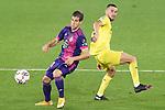 Villarreal CF's Moi Gomez (r) and Real Valladolid's Pablo Hervias during La Liga match. November 2, 2020. (ALTERPHOTOS/Acero)