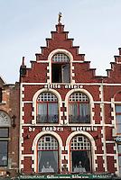 Belgium, Bruges, Gabled house Market Square, Brugge Markt