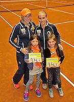 April 18, 2015, Netherlands, Den Bosch, Maaspoort, Fedcup Netherlands-Australia, Boek presentation with Richel Hogenkamp and Michaëlla Krajicek (L)<br />  Photo: Tennisimages/Henk Koster