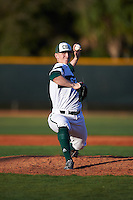 Chicago State Cougars starting pitcher Jake Perkins (31) delivers a pitch during a game against the Georgetown Hoyas on March 3, 2017 at North Charlotte Regional Park in Port Charlotte, Florida.  Georgetown defeated Chicago State 11-0.  (Mike Janes/Four Seam Images)