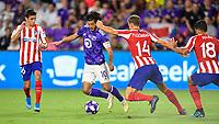 Orlando, FL - Wednesday July 31, 2019:  Carlos Vela #10, Juan Manuel Sanabria #36 during an Major League Soccer (MLS) All-Star match between the MLS All-Stars and Atletico Madrid at Exploria Stadium.