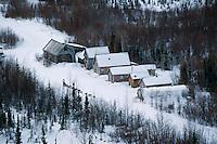 Aerial of Nils Hahn at Ophir Checkpoint Alaska.2004 Iditarod