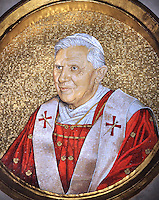 Mosaic of Pope Benedict XVi, in the Basilica of St. Paul, at St. Paul's Basilica Outside the Walls, in Rome,..June 25, 2009.