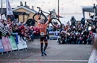 Mathieu Van der Poel (NED) crosses the finish line victoriousily. <br /> <br /> Men's Elite race <br /> <br /> UCI 2019 Cyclocross World Championships<br /> Bogense / Denmark<br /> <br /> <br /> ©kramon