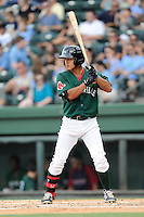 Shortstop Tzu-Wei Lin (36) of the Greenville Drive in a game against the Savannah Sand Gnats on Sunday, August 24, 2014, at Fluor Field at the West End in Greenville, South Carolina. Lin is the No. 28 prospect of the Boston Red Sox, according to Baseball America. Greenville won, 8-5. (Tom Priddy/Four Seam Images)