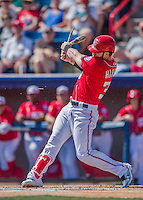 7 March 2016: Washington Nationals outfielder Bryce Harper breaks his bat on a groundout play in the first inning of a Spring Training pre-season game against the Miami Marlins at Space Coast Stadium in Viera, Florida. The Nationals defeated the Marlins 7-4 in Grapefruit League play. Mandatory Credit: Ed Wolfstein Photo *** RAW (NEF) Image File Available ***