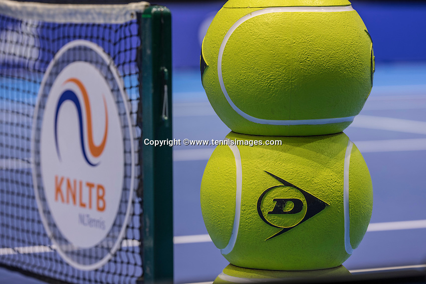 Rotterdam, Netherlands, December 13, 2016, Topsportcentrum, Lotto NK Tennis,   Dunlop balls and KNLTB logo<br /> Photo: Tennisimages/Henk Koster