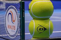 Rotterdam, Netherlands, December 13, 2016, Topsportcentrum, Lotto NK Tennis,   Dunlop balls and KNLTB logo<br /> Photo: Tennisimages/Henk Koster