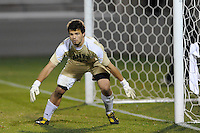 Goalkeeper Dan Louisignau (00) of the UMBC Retrievers. UMBC Retrievers defeated Princeton Tigers 2-1 during the first round of the 2010 NCAA Division 1 Men's Soccer Championship at Roberts Stadium in Princeton, NJ, on November 18, 2010.