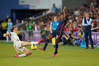 ORLANDO, FL - MARCH 05: Crystal Dunn #19 of the United States during a game between England and USWNT at Exploria Stadium on March 05, 2020 in Orlando, Florida.