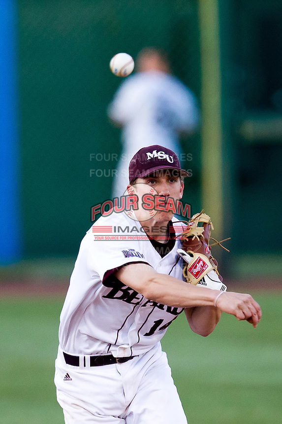 Eric Cheray (14) of the Missouri State Bears throws a ball to first base during a game against the Oklahoma State Cowboys at Hammons Field on March 6, 2012 in Springfield, Missouri. (David Welker / Four Seam Images)