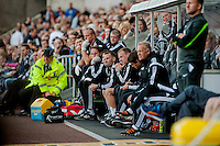 Saturday 4th  October 2014 Pictured: Swansea Dugout during extra time <br /> Re: Barclays Premier League Swansea City v Newcastle United at the Liberty Stadium, Swansea, Wales,UK