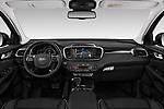 Stock photo of straight dashboard view of a 2018 KIA Sorento GT Line 5 Door SUV