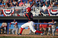 Batavia Muckdogs left fielder Mathew Brooks (46) at bat during a game against the Auburn Doubledays on June 19, 2017 at Dwyer Stadium in Batavia, New York.  Batavia defeated Auburn 8-2 in both teams opening game of the season.  (Mike Janes/Four Seam Images)