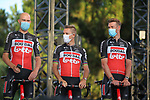 Lotto-Soudal on stage at the team presentation before the Tour de France 2020, Nice, France. 27th August 2020.<br /> Picture: ASO/Thomas Maheux | Cyclefile<br /> All photos usage must carry mandatory copyright credit (© Cyclefile | ASO/Thomas Maheux)