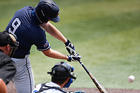 Liberty Flames left fielder Aaron Anderson (9) at bat against the Duke Blue Devils in NCAA Regional play on Robert M. Lindsay Field at Lindsey Nelson Stadium on June 4, 2021, in Knoxville, Tennessee. (Danny Parker/Four Seam Images)