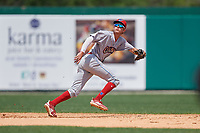Clearwater Threshers shortstop Nick Maton (6) tracks a fly ball during a Florida State League game against the Dunedin Blue Jays on April 7, 2019 at Jack Russell Memorial Stadium in Clearwater, Florida.  Dunedin defeated Clearwater 2-1.  (Mike Janes/Four Seam Images)