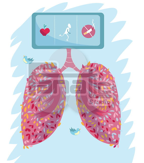 Cardiac with no smoking sign and apple depicting healthy lungs