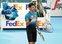 Novak Djokovic (SRB) celebrates his win against Kei Nishikori (JPN) during Day One of the Barclays ATP World Tour Finals 2015 played at The O2, London on November 15th 2015