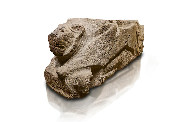 Alaca Hoyuk - Hittite lion sculpture corner Stone . Andesite. Alacahoyuk, 1399 - 1301 B.C. Anatolian Civilisations Museum, Ankara, Turkey.<br /> <br /> Corner stone with sculpted lion, bull and winged sun disk. It was discovered at the right side of the Alacahoyuk sphinx door. The lion puts his front legs on a small bull. There is a Hittite winged sun disk on the abdomen of the lion, which can be seen from a lower location. The position of the sun course indicates that the stone is situated in a high place.<br /> <br /> Against a white background.
