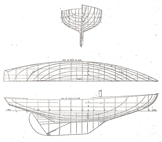 """The attractively innovative lines of the 25ft Glen Class, a wartime dream which emerged from the Alfred Mylne office, and are taken here from the Yachting World of July 1945. In the interests of post-war economy, the stern is a simple """"sawn-off"""" counter, and thanks to the angle at the garboards in the way of the ballast keel it is possible to carry in-hull bent timbers right across the keelson, while the mast was to be a simple box girder."""