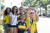 Santa Clara, CA - Friday June 3, 2016: Colombia fans before the game take a group photo. USA played Colombia in the opening match of the Copa América Centenario game at Levi's Stadium.